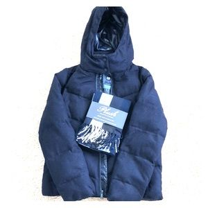 Navy puffer jacket and matching scarf